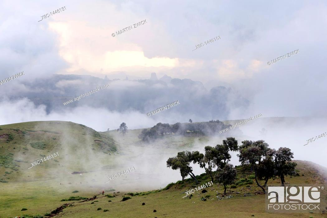Stock Photo: Landscape in the Simien Mountains National Park  Cloudscape ober the escaprment after a heavy thunderstorm during rainy season  The Simien Semien, Saemen.