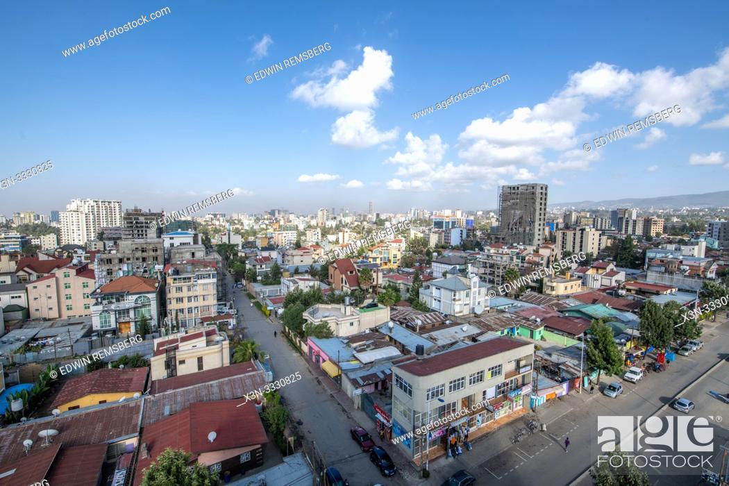 Stock Photo: Sprawling skyline of the developing capitol of Ethiopia, Addis Ababa.