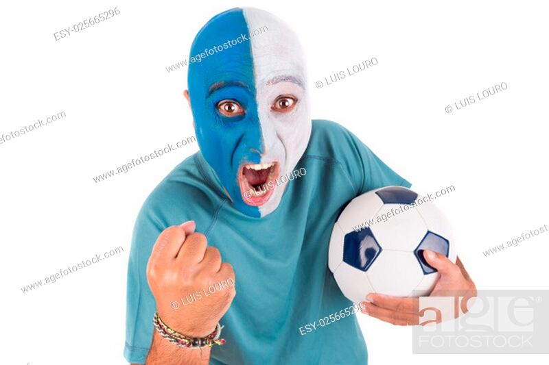 Stock Photo: Football supporter with painted face with ball.