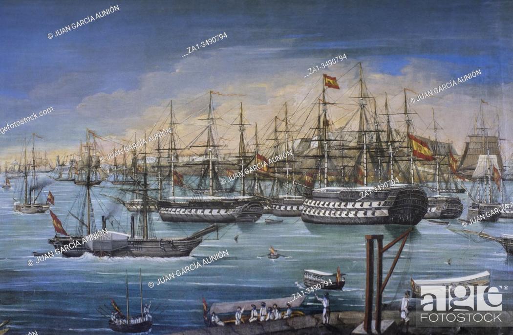 Stock Photo: Spanish squadron anchored in La Habana, 19th Century. Painted by Ramon Salvatierra y Molero. Museo Naval, Madrid.