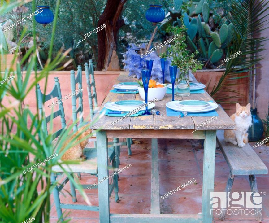 Stock Photo: Laid table on a terrace.