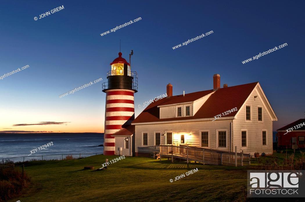 Stock Photo: West Quoddy Head Light , Lubec, Maine, USA.