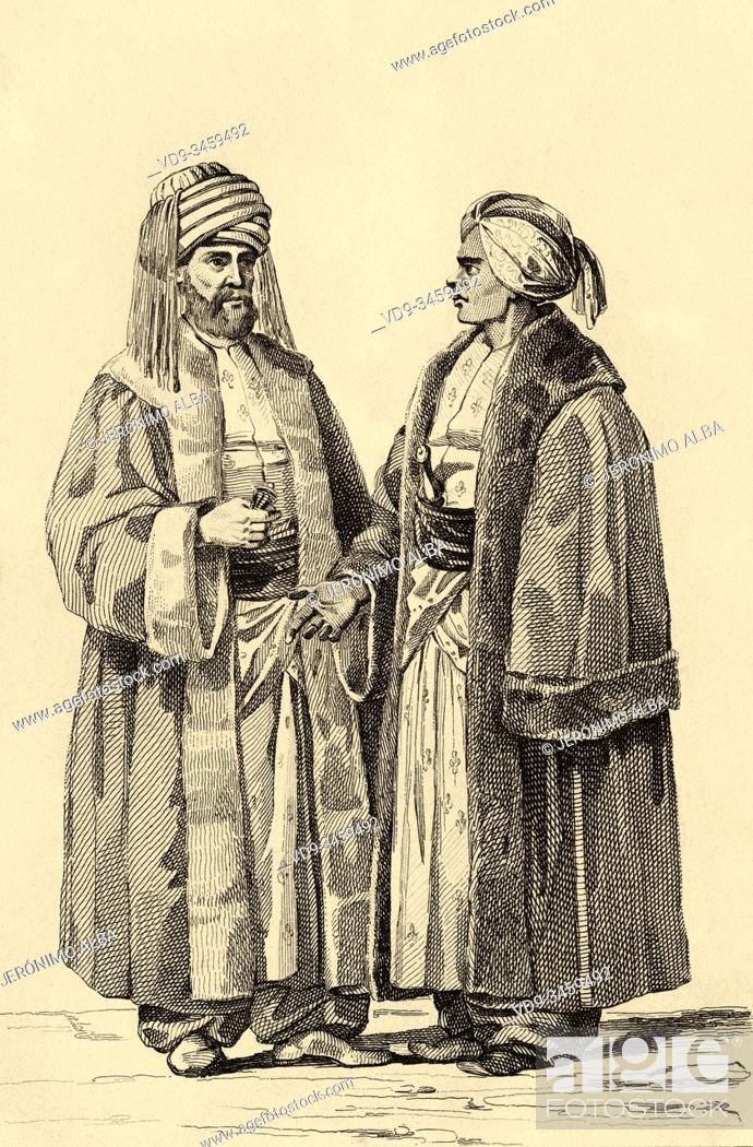 Stock Photo: Rulers of Mecca and Medina. Terife of Mecca and Sheikh al Haren, Governor of Medina. History of Saudi Arabia. Old engraving published in L'Univers Arabia.