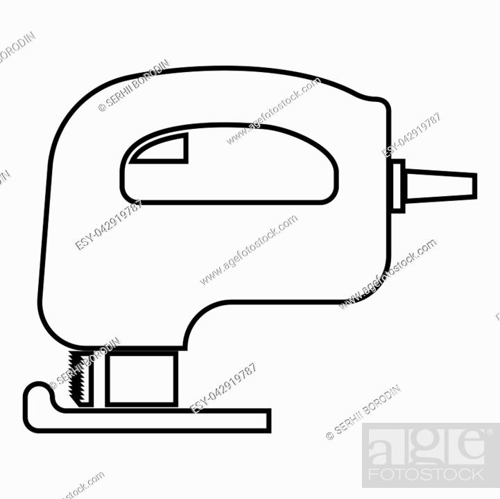Vector: Fretsaw electric keyhole saw icon black color vector illustration flat style simple image.