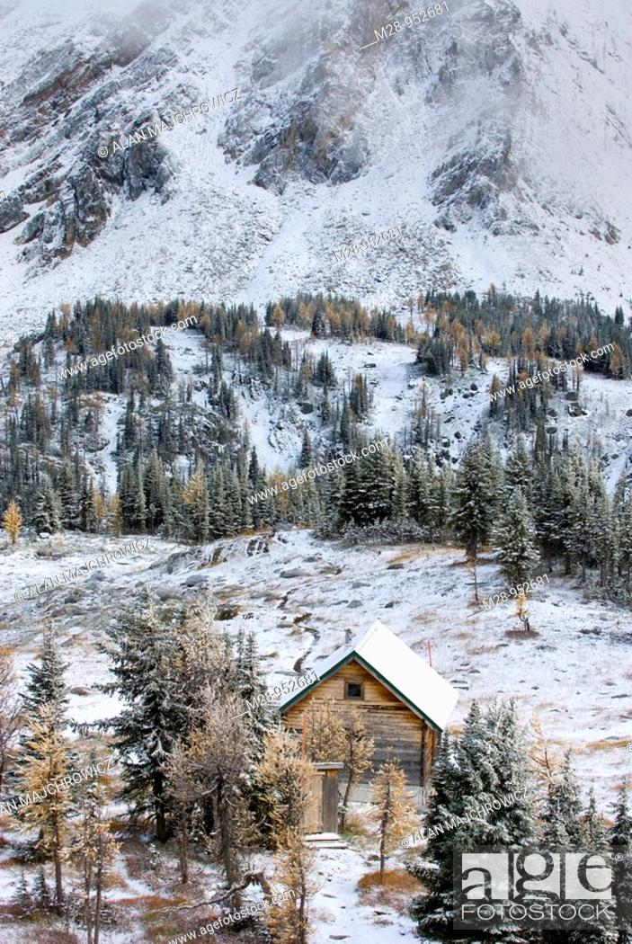Stock Photo: Jumbo Pass cabin after October snowstorm, Purcell Mountains British Columbia Canada.
