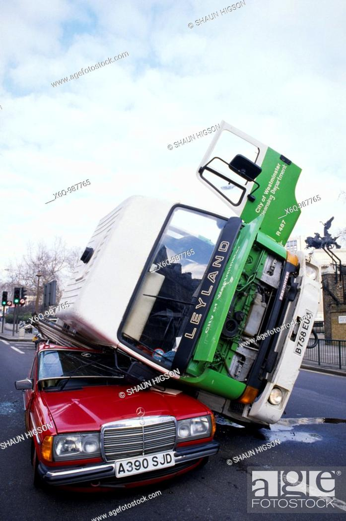 Stock Photo: A car crash in London in England in Great Britain in the United Kingdom UK Europe.
