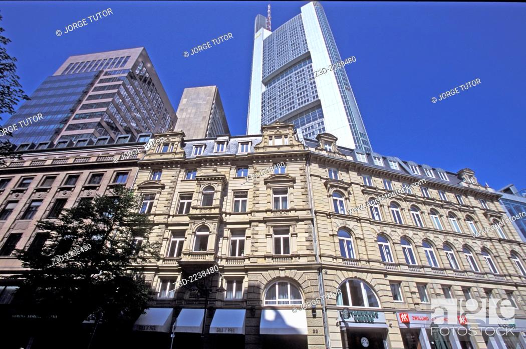 Stock Photo: View of the Frankfurt Am Main Commerzbank Tower.