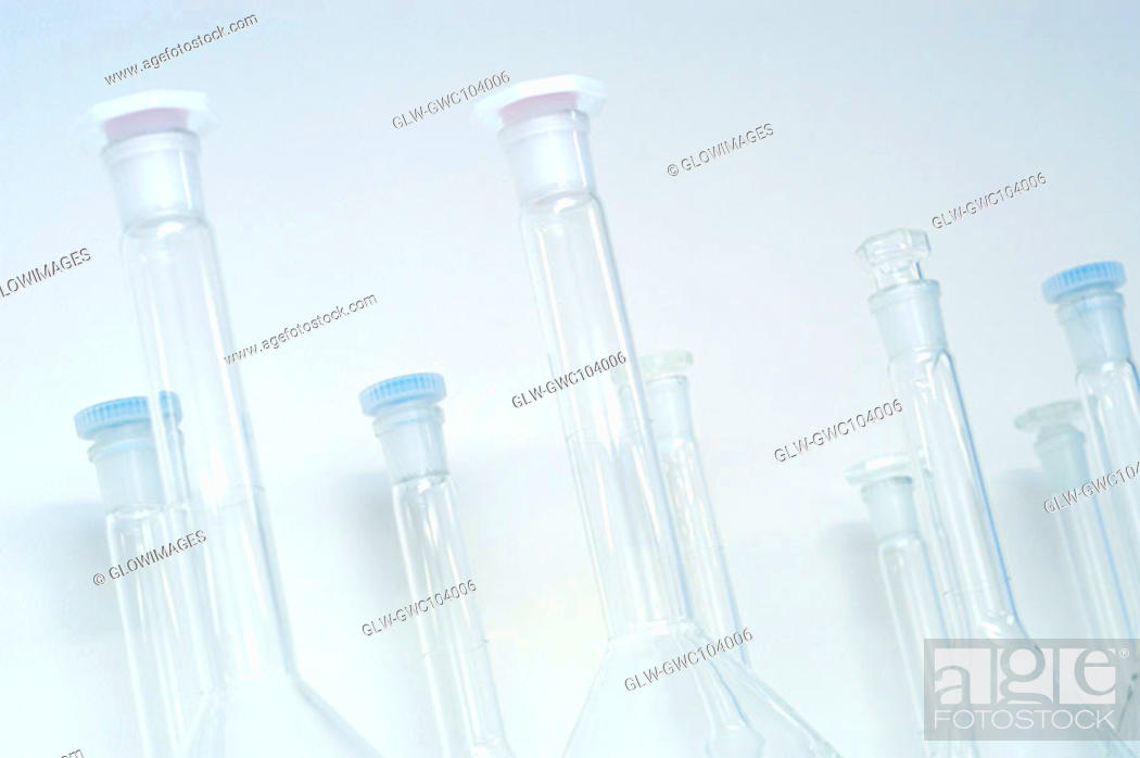 Stock Photo: Close-up of an array of glass containers.
