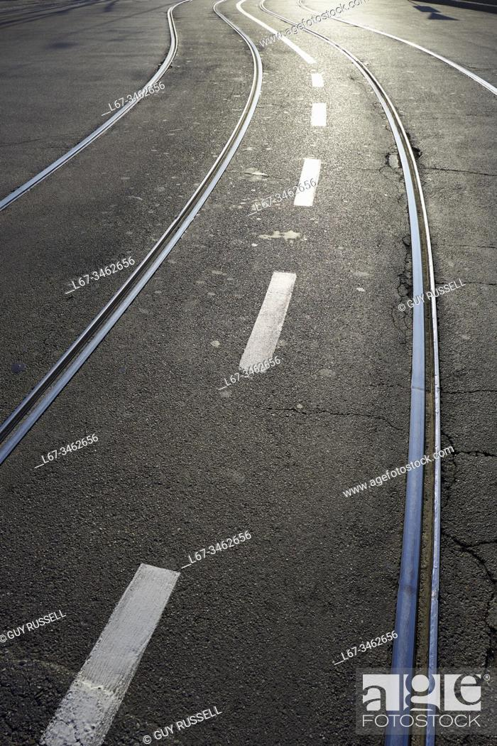 Stock Photo: Tram tracks of the Milan tramway network.