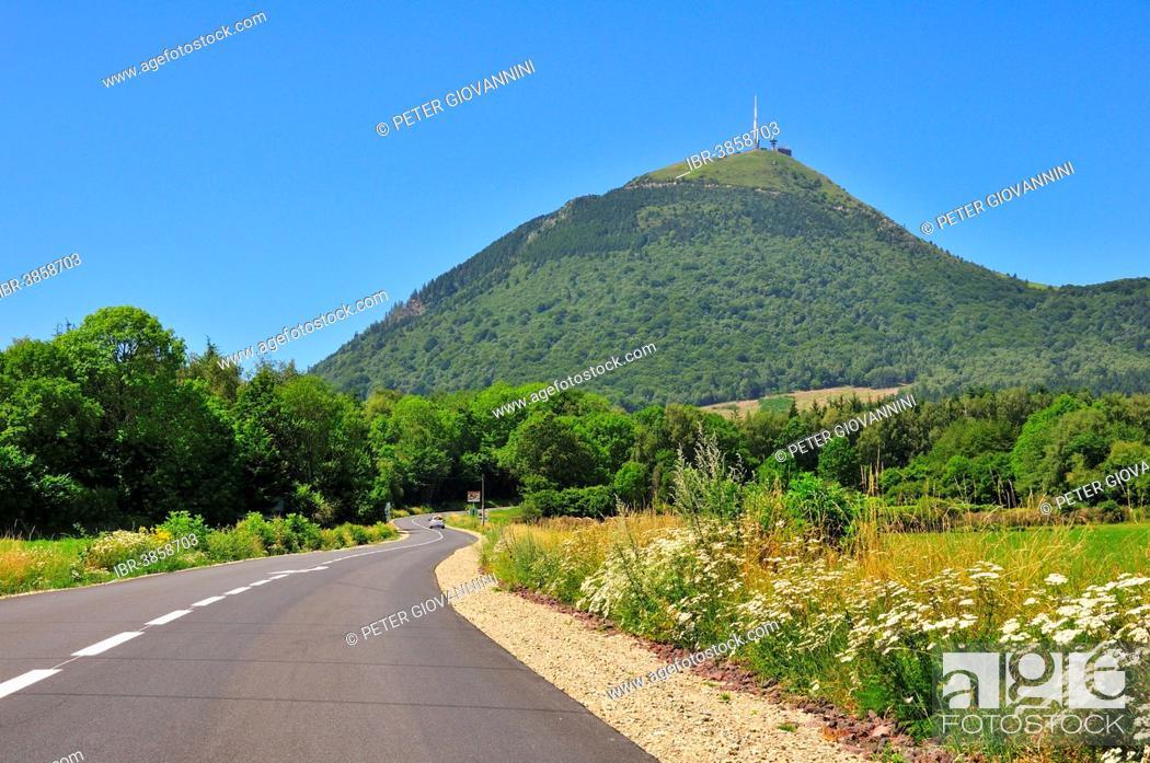 Stock Photo: The Puy-de-Dôme volcano with its radio mast, Puy-de-Dôme, France.