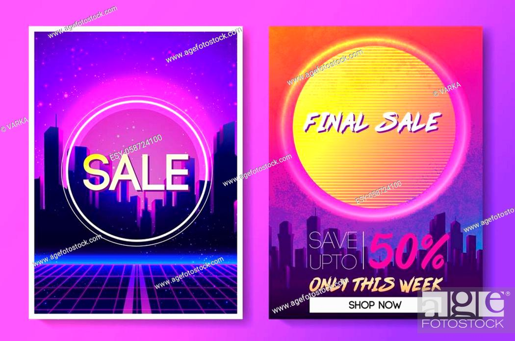Stock Vector: Sale coupon design template in 1980s style. Retro Futurism. Vector futuristic synth wave illustration. 80s Retro poster Background with. Party Flyer.