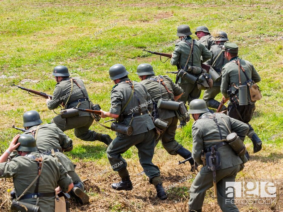 Stock Photo: German Army of World war II reincarnation of a battle, Pivka Slovenia 2018, editorial use only.