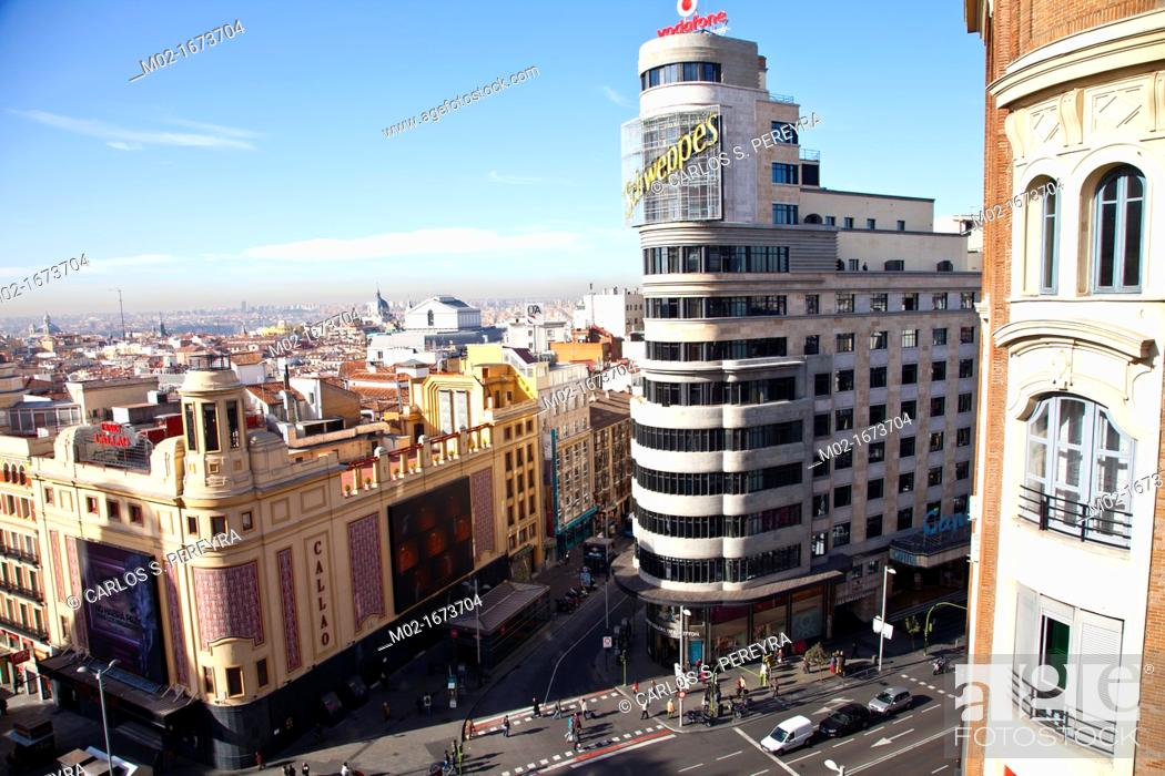 Stock Photo: Plaza Callao square in Gran Via street, downtown of Madrid, Spain, Europe.