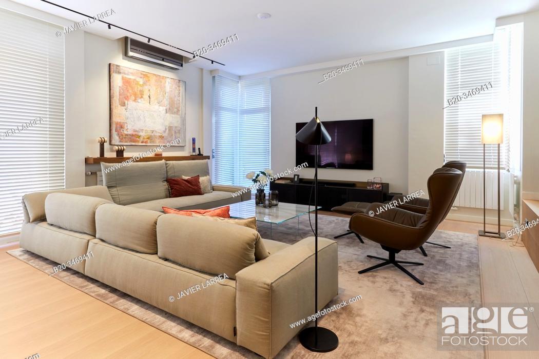 Stock Photo: Living room, Family house, Villa, Donostia, San Sebastian, Gipuzkoa, Basque Country, Spain, Europe.