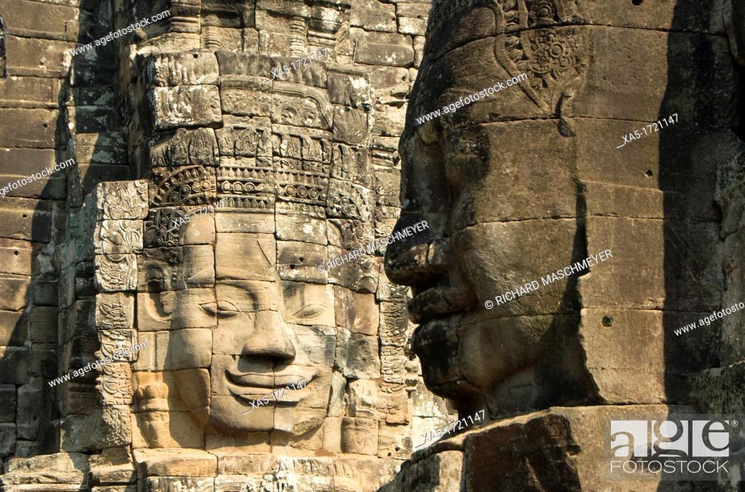 Stock Photo: Bayon, Angkor Thom, Angkor Archaeological Park, Siem Reap, Cambodia.