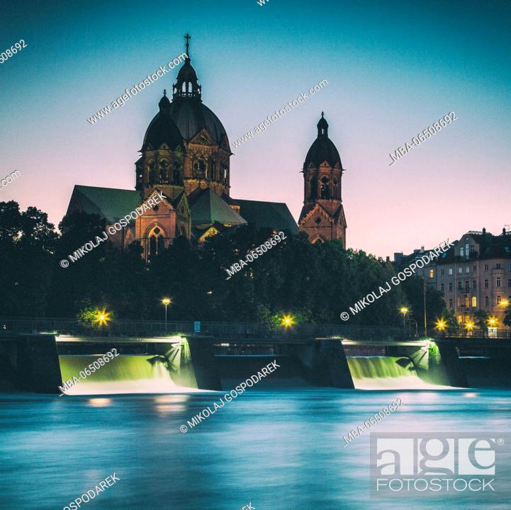 Stock Photo: Germany, Bavaria, St. Luke's Church, Munich, City.