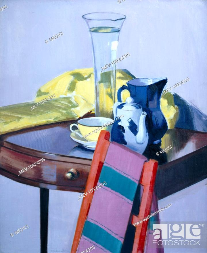 Photo de stock: Lily Vase' – with blue and white teapot, blue jug, yellow cup & saucer, yellow shawl and red chair.