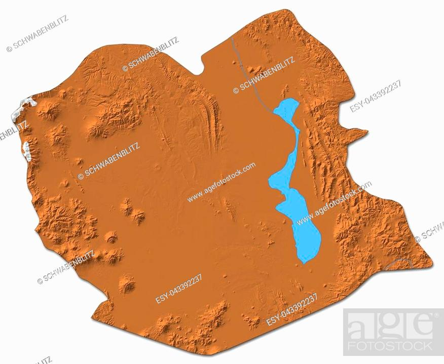 Stock Photo: Relief map of Oruro, a province of Bolivia, with shaded relief.