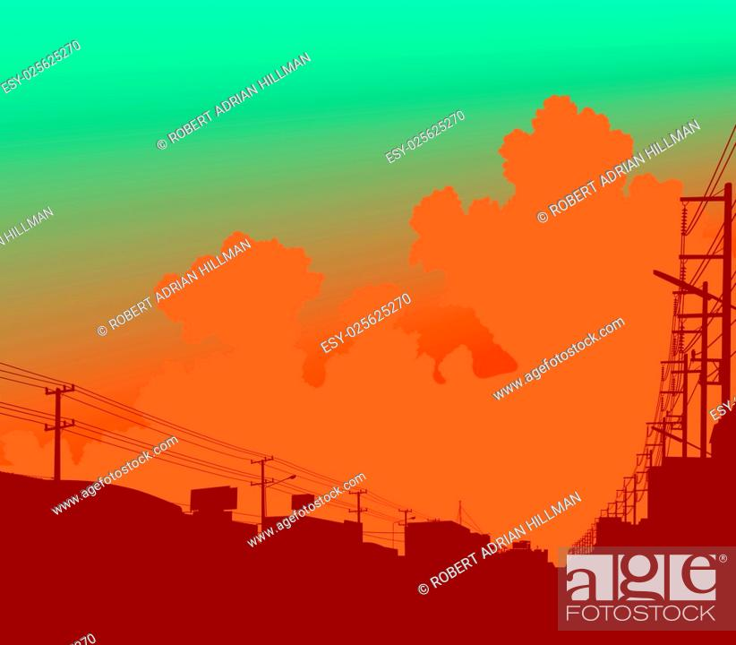 Stock Vector: Editable vector illustration of clouds over a city.
