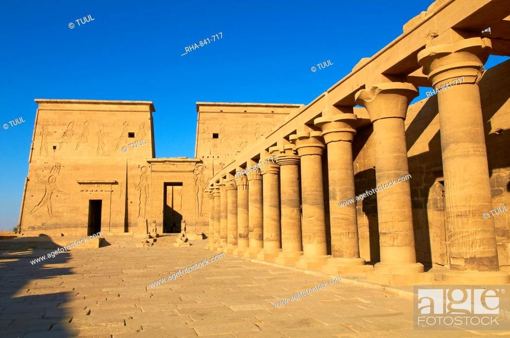Stock Photo: Temple of Philae, UNESCO World Heritage Site, Agilkia Island, Nile Valley, Nubia, Egypt, North Africa, Africa.