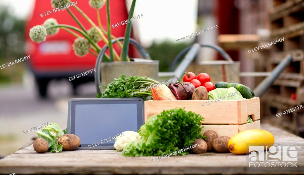Stock Photo: harvest, food and agriculture concept - close up of vegetables with tablet pc computer on farm.