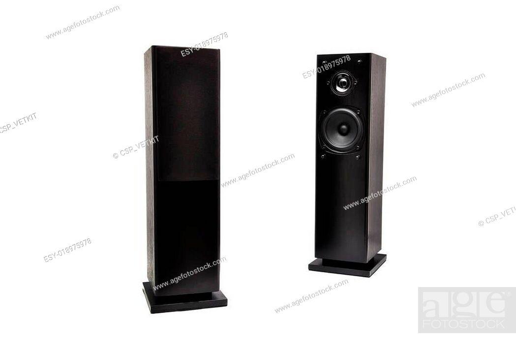 Stock Photo: black audio speakers.