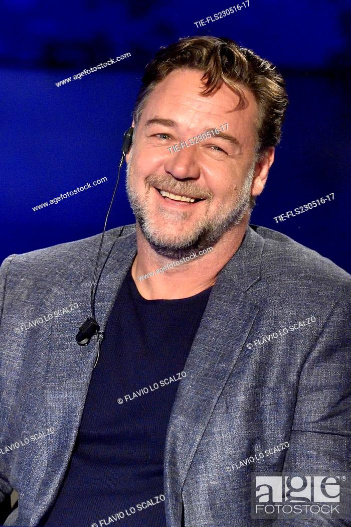 Imagen: Russell Crowe during the interview at tv show Che tempo che fa, Milan, ITALY-22-05-2016.