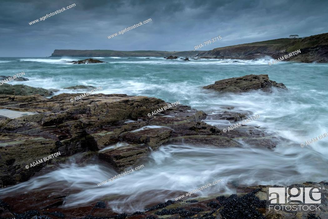 Stock Photo: Stormy seas looking towards Pentire Point, Padstow, Cornwall, England, United Kingdom, Europe.