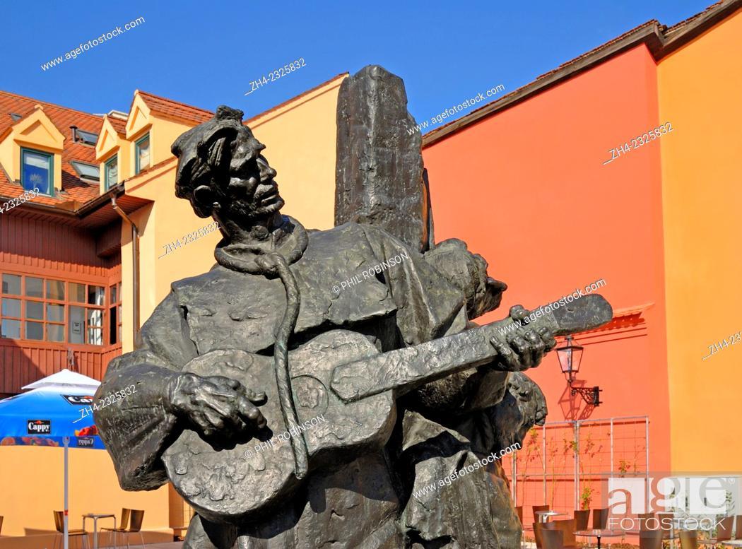 Zagreb Croatia Statue Petrica Kerempuh By Vanja Radaus Next To