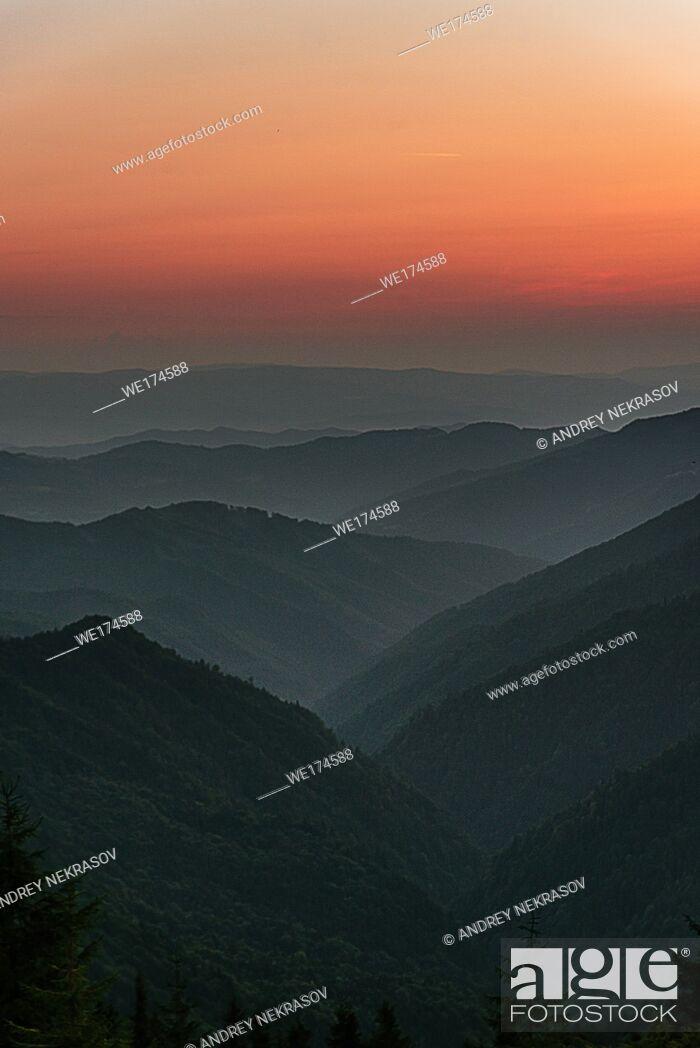 Stock Photo: sunrise in the mountains. Carpathian Mountains, Ukraine, Eastern Europe.
