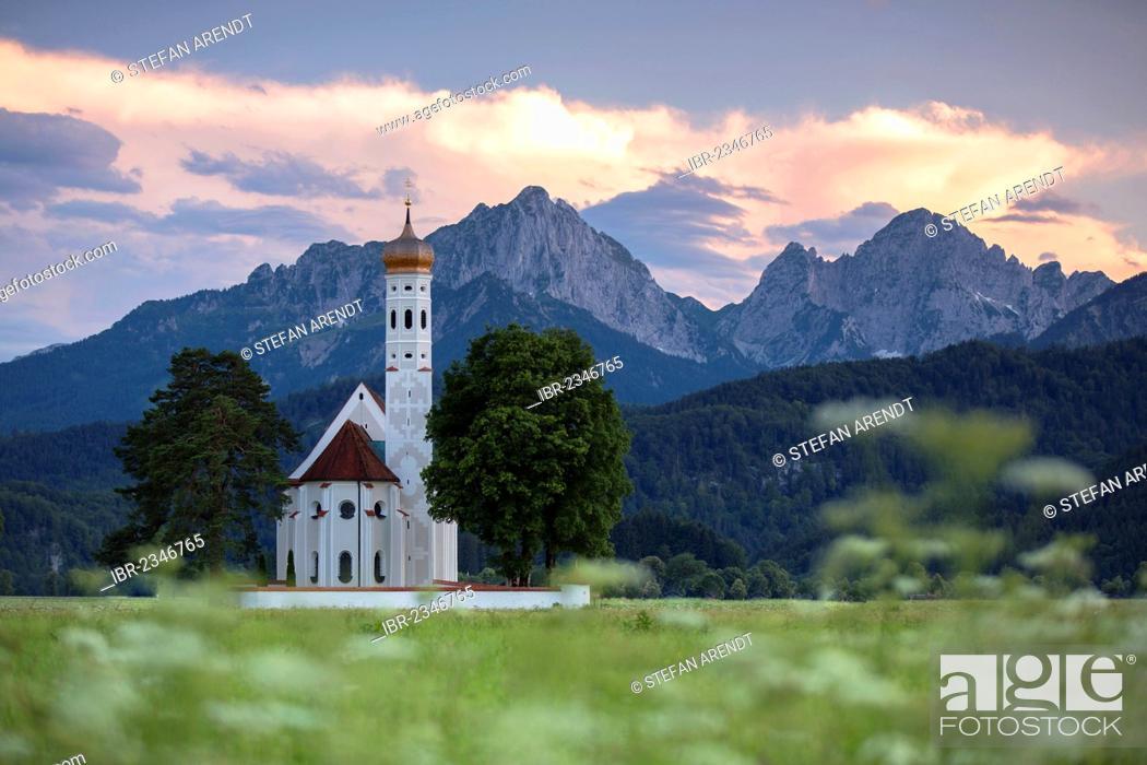 Stock Photo: Church of St. Coloman near Fuessen in the Allgaeu, Bavaria, Germany, Europe, PublicGround.