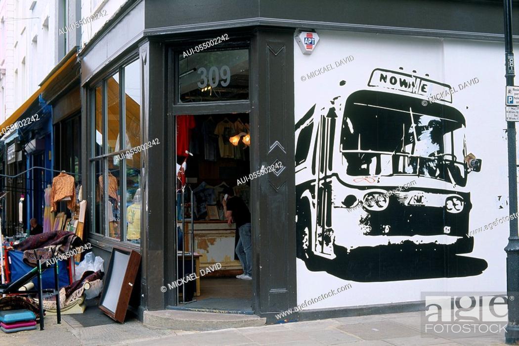 Stock Photo: England - London - Notting Hilll district - Portobello Road Market.