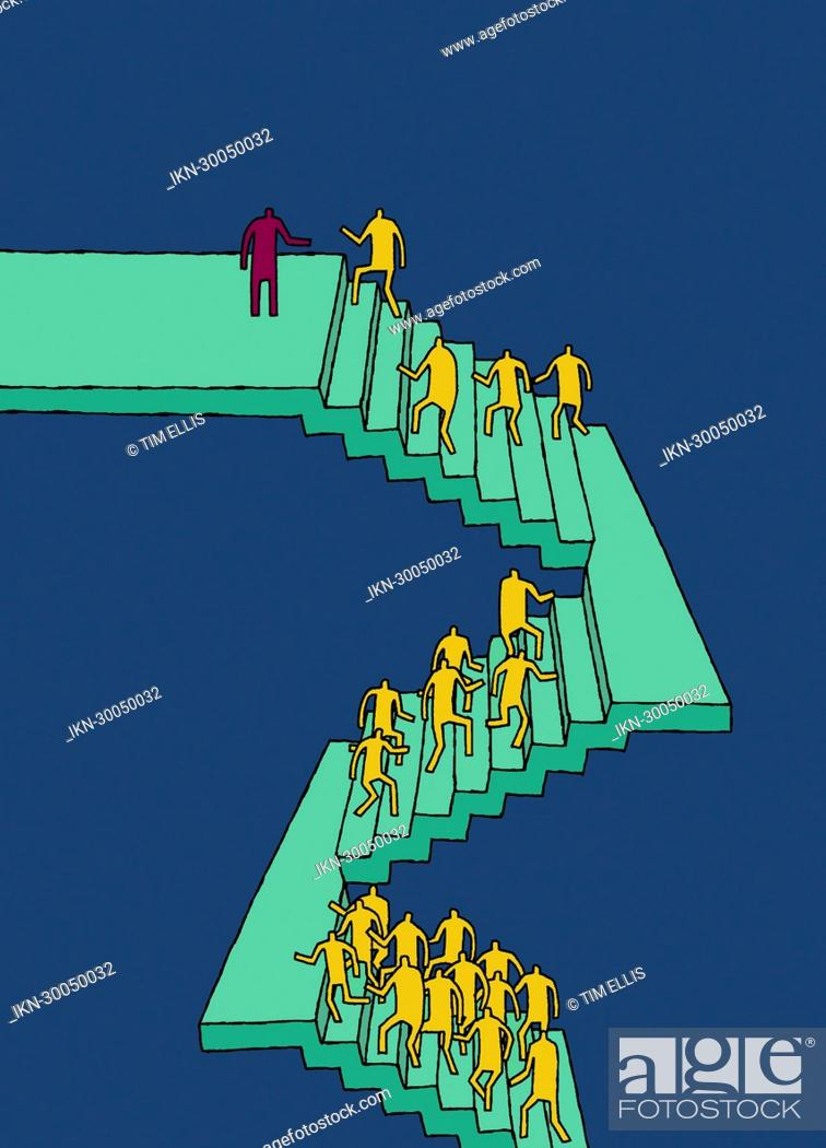 Imagen: Workers climbing stairs.