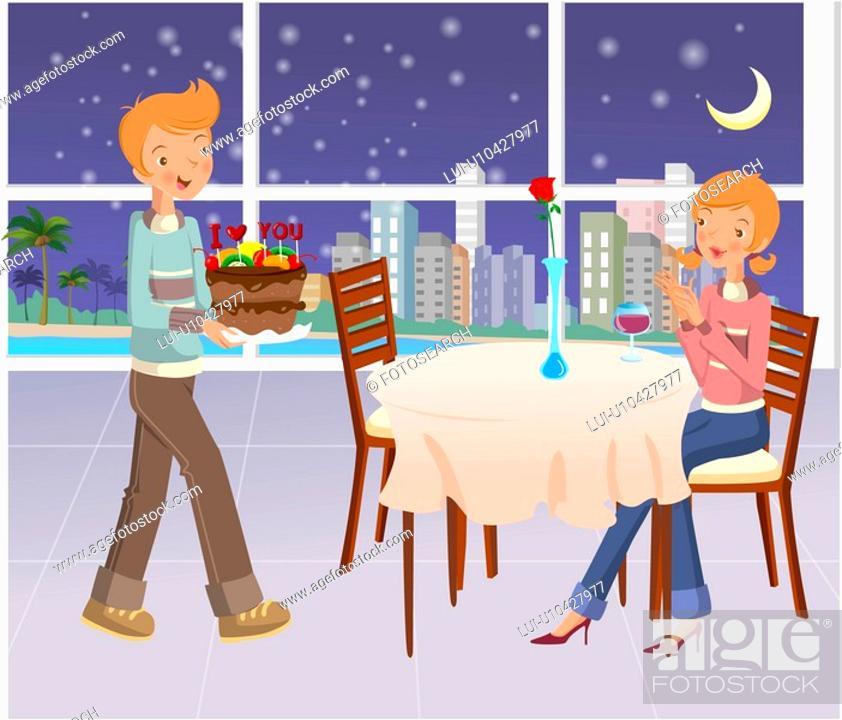 Stock Photo: romance, cake, seasons, couple, table, love.