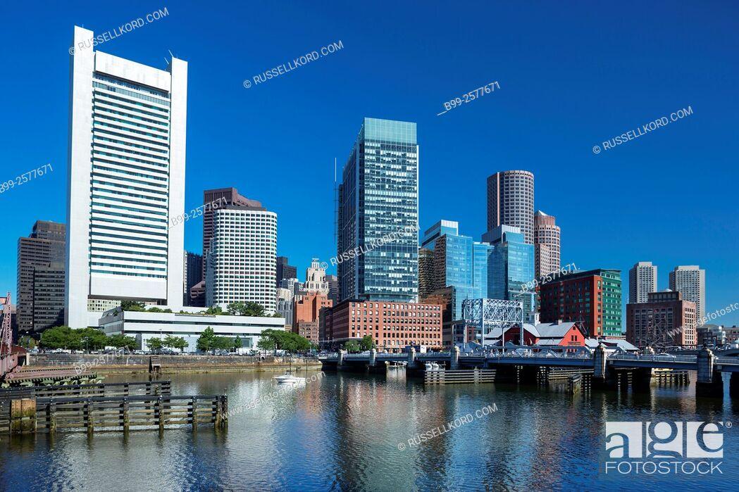 Stock Photo: Atlantic Wharf Waterfront Fort Point Channel Skyline Inner Harbor South Boston Massachusetts Usa.