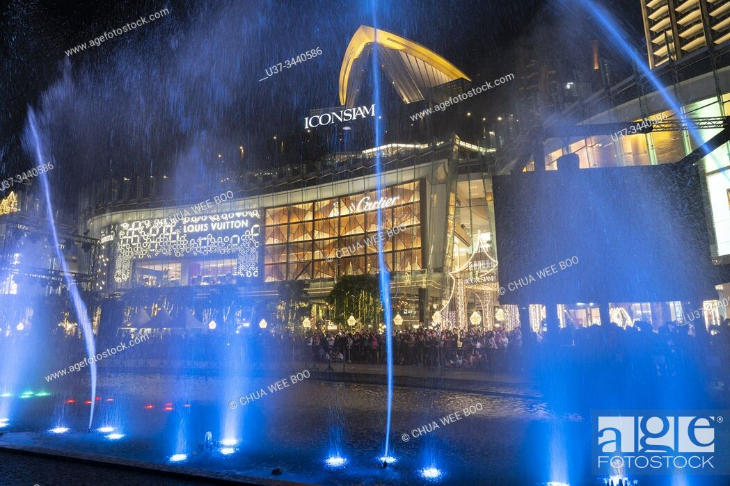 Stock Photo: Coloured fountains in front of the IconSiam shopping centre, Khlong San District, Thonburi, Bangkok, Thailand.