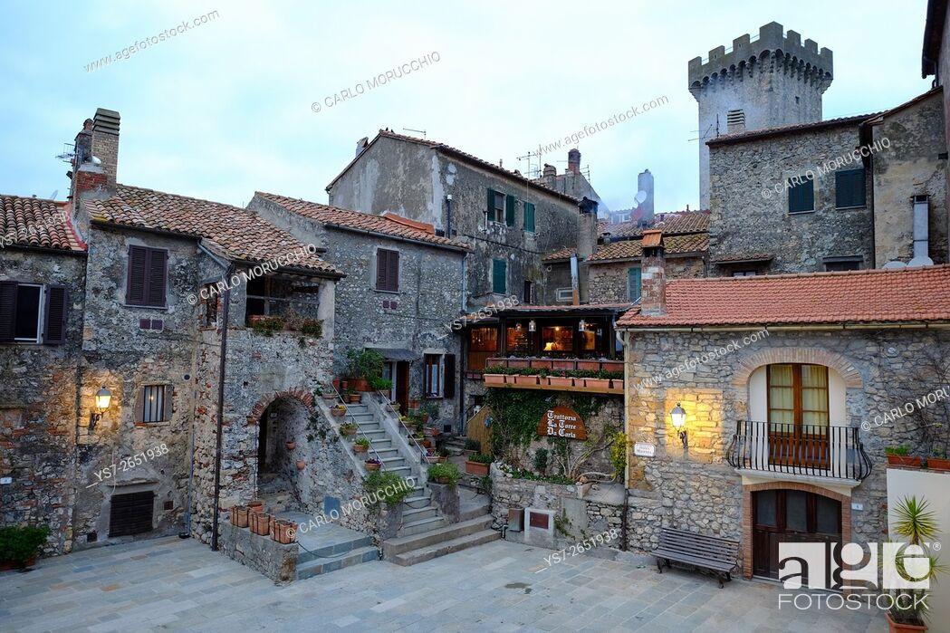Stock Photo: Piazza Magenta, Capalbio, Maremma, Grosseto, Tuscany, Italy.