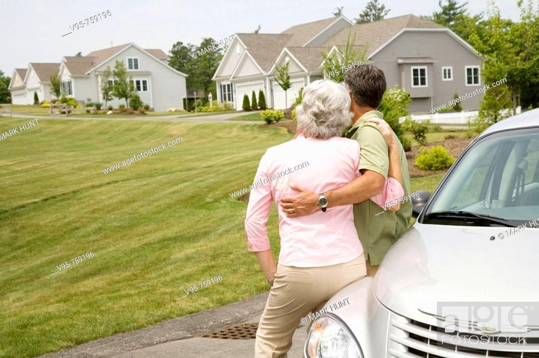Stock Photo: Senior couple at residential area.