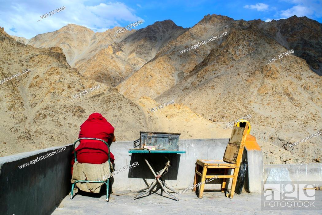 Stock Photo: Buddhist monk enjoying the scenery at Likkir's monastery (Ladakh, India).
