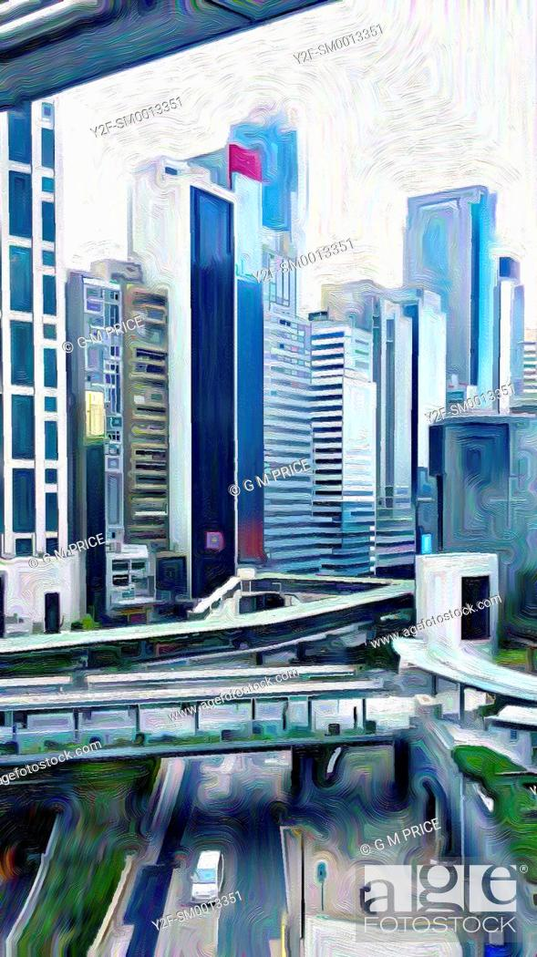 Imagen: expressionist filter view of office buildings, Hong Kong, China.
