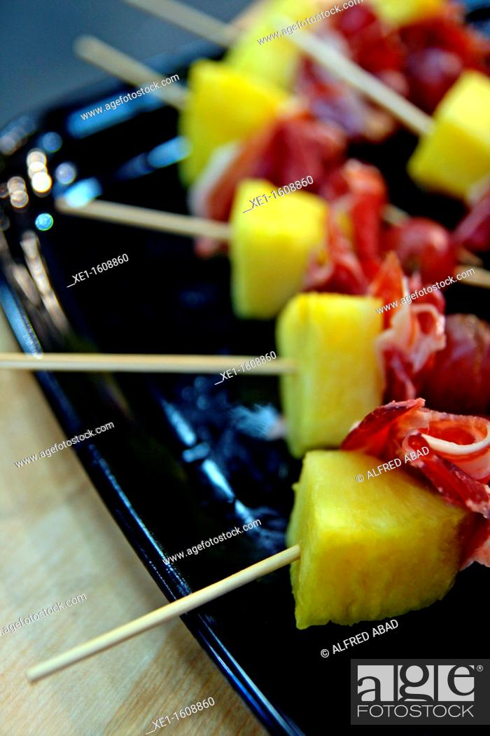 Stock Photo: ham and pineapple skewers.