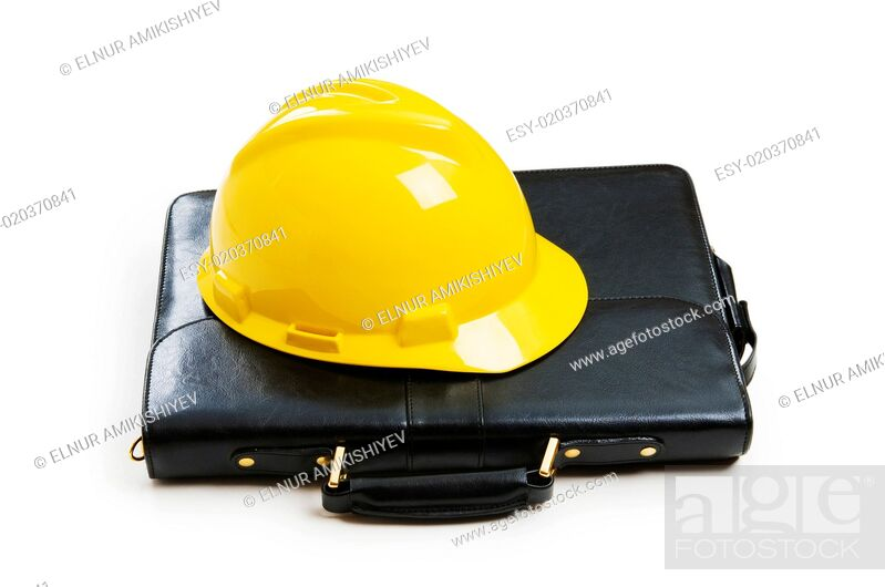 Stock Photo: Construction concept - case and hard hat isolated on white.