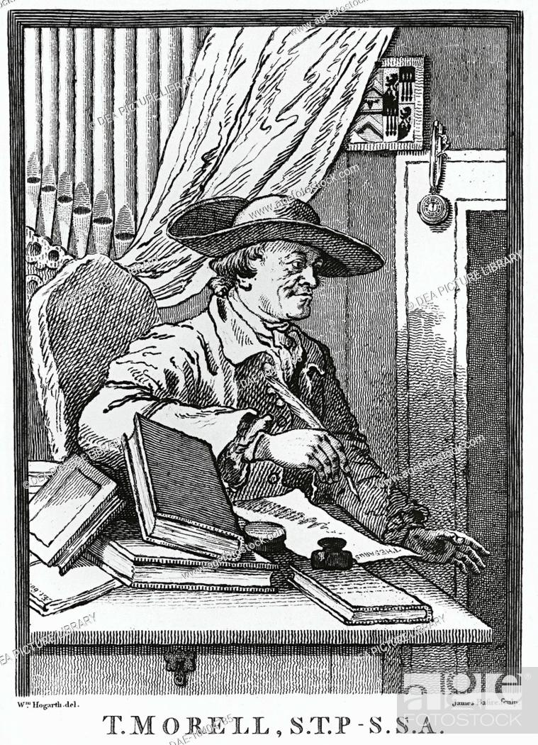 Stock Photo: Portrait of Thomas Morell (Eton, 1703 - 1784), English librettist. Engraving by James Basire the Elder (1730-1802), 1762.