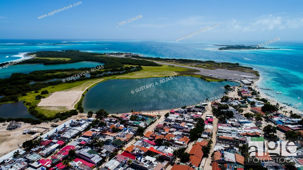Stock Photo: Los Roques small tropical Village with Lagoon Surrounded by crystal clear waters and beautiful beaches.