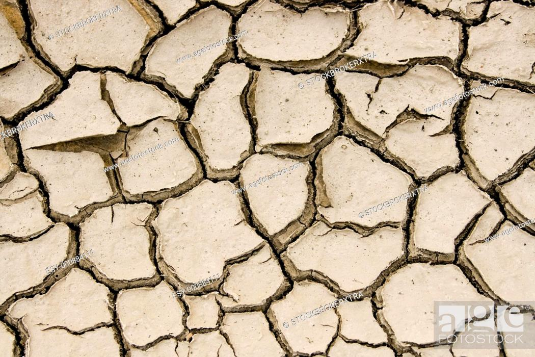 Stock Photo: Close-up of split piece of land in desert with lots of clefts.
