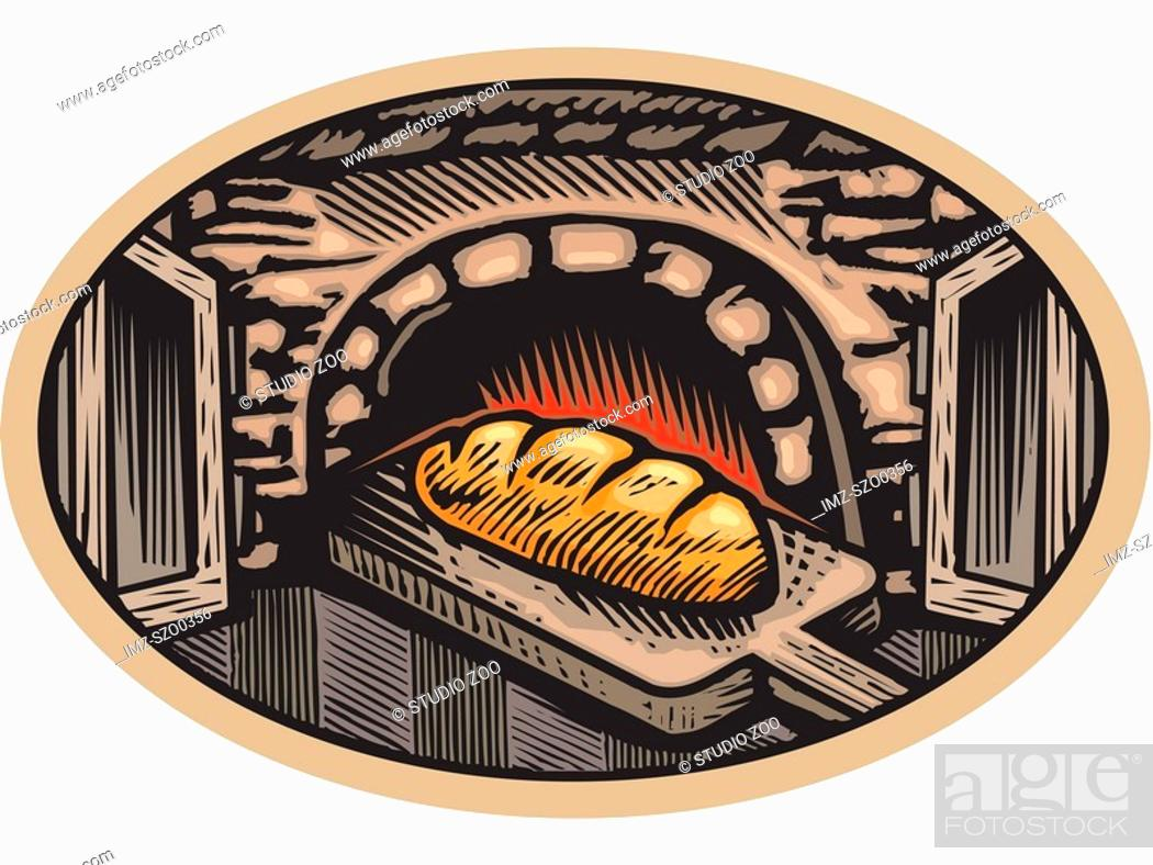 Stock Photo: Fresh baked bread coming out of a traditional fire wood oven.