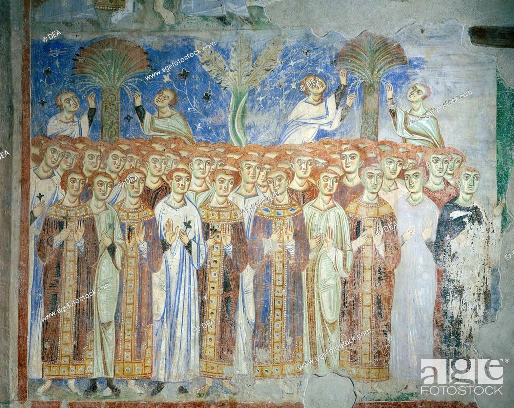 Stock Photo: Common people, God's people, detail from the Universal Judgement, 1072-1078, Byzantine-Campanian school frescoes, counterfacade of the Basilica of Sant'Angelo.