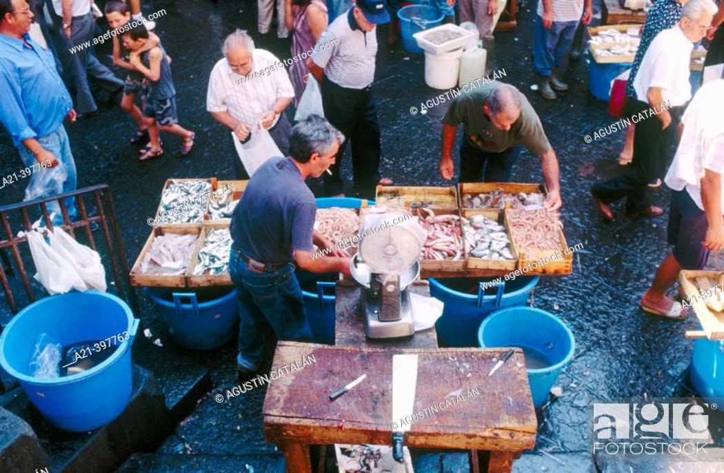 Stock Photo: Open air fish market. Catania. Sicily. Italy.