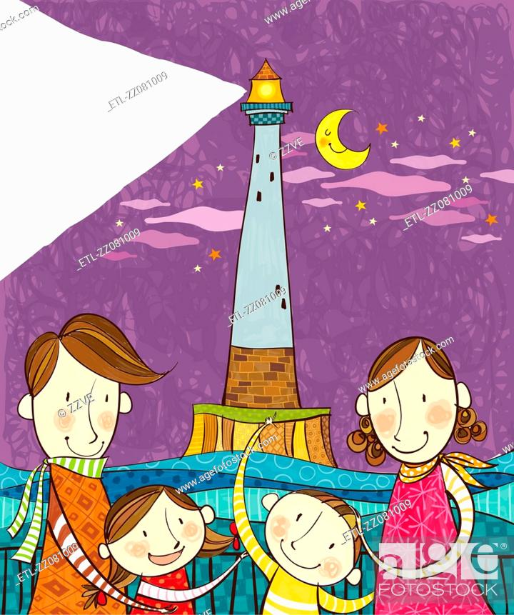 Stock Photo: Portrait of happy family in front of lighthouse.