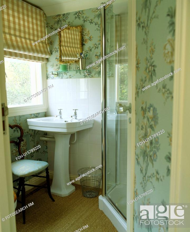 Outstanding Pastel Blue Patterned Wallpaper In Small Bathroom With Download Free Architecture Designs Ferenbritishbridgeorg